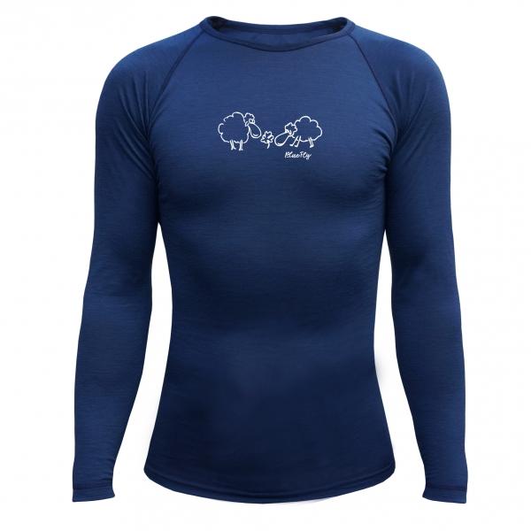 9e58c2492d5 Funkční triko Merino - dlouhý rukáv - tmavě modré s potiskem