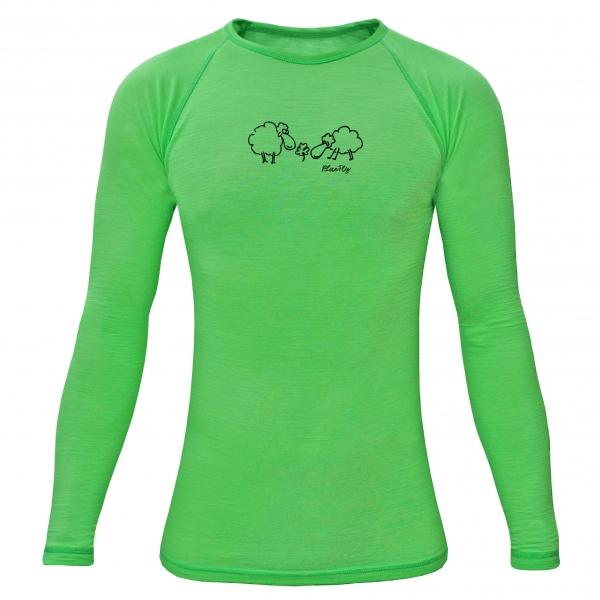 c260e237c82 Funkční triko Merino - dlouhý rukáv - zelené s potiskem
