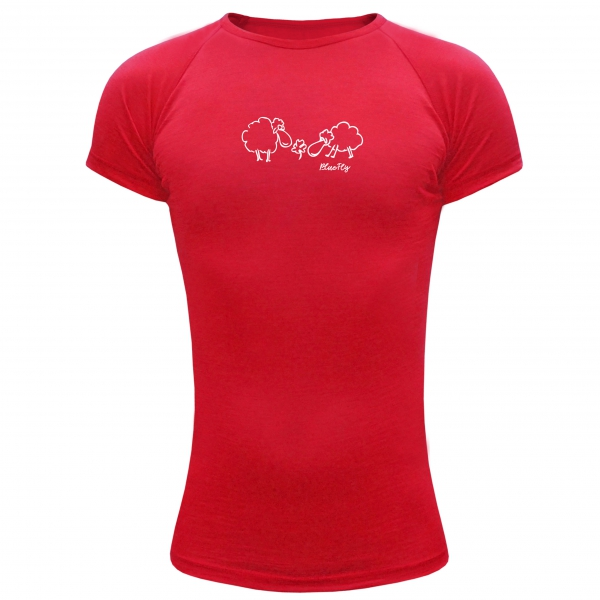 ff190d79e8a Funkční triko Merino - kratký rukáv - červené s potiskem